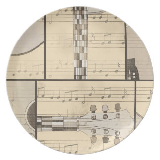 Vintage Music Sheet and Pop Art Abstract Guitar Plate