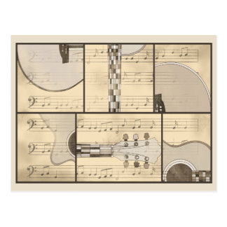 Vintage Music Sheet and Pop Art Abstract Guitar Postcard