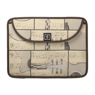 Vintage Music Sheet and Pop Art Abstract Guitar Sleeve For MacBook Pro