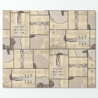 Vintage Music Sheet and Pop Art Abstract Guitar Wrapping Paper