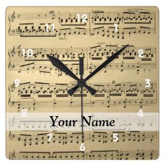Vintage Music Sheet Clock