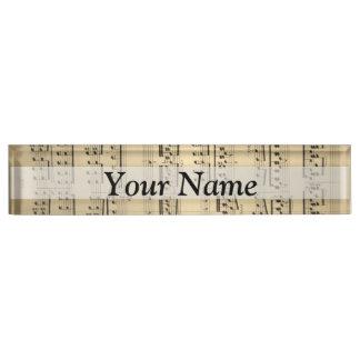 Vintage Music Sheet Desk Name Plates