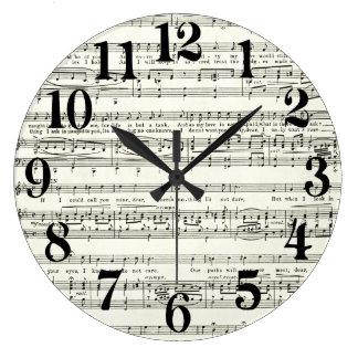 Vintage music sheet,musical notes large clock