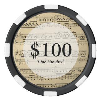 Vintage Music Sheet Poker Chips Set