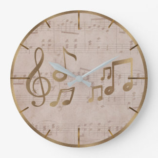 Vintage Music Sheet Sol Key Music Notes Large Clock