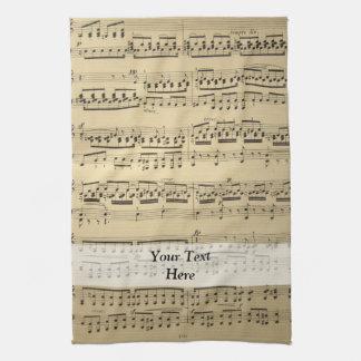 Vintage Music Sheet Hand Towel