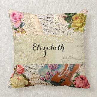 Vintage Music Sheets and Floral Arrangement Cushion