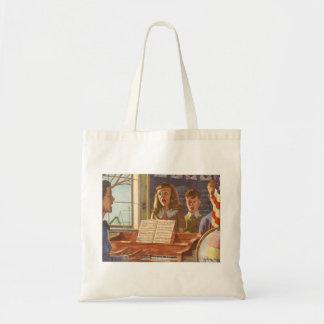 Vintage Music Teacher Teaching Students to Sing Tote Bag