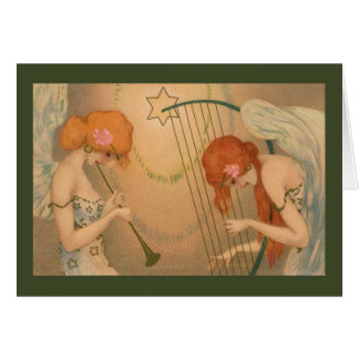 Vintage Music Victorian Angel Musicians Christmas Greeting Card