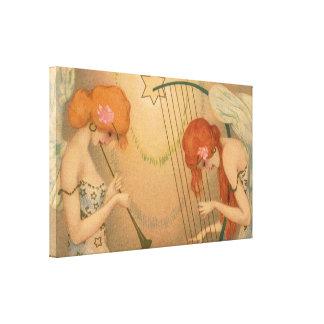 Vintage Music Victorian Angel Musicians Flute Harp Canvas Prints