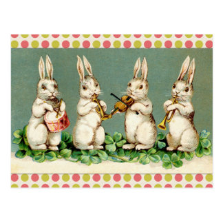 Vintage Musical Bunnies Postcard