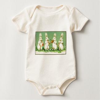 Vintage Musical Easter Bunnies Baby Bodysuit