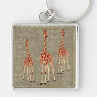 Vintage Musical Rose Giraffes Keychain
