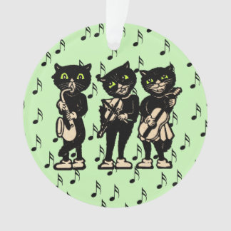 Vintage Musician Black Cats Music Notes