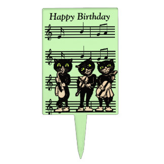 Vintage Musician Black Cats Music Notes Birthday Cake Picks