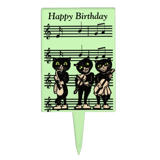Vintage Musician Black Cats Music Notes Birthday Rectangular Cake Toppers