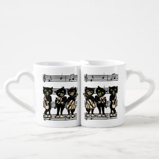 Vintage Musician Black Cats Music Notes Lovers Mug