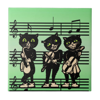 Vintage Musician Black Cats Music Notes Small Square Tile