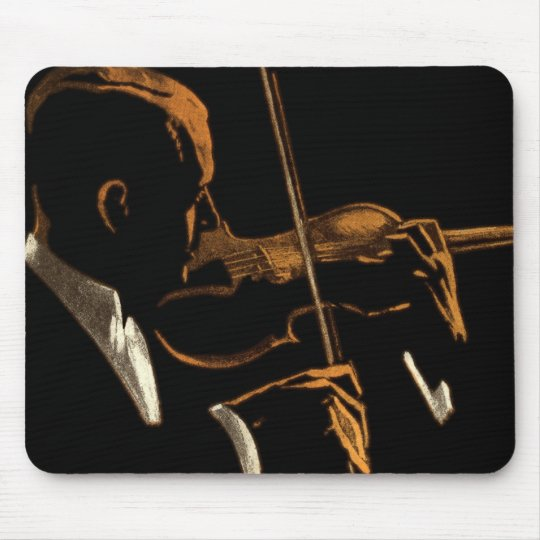 Vintage Musician, Violinist Playing Violin Music Mouse Mat