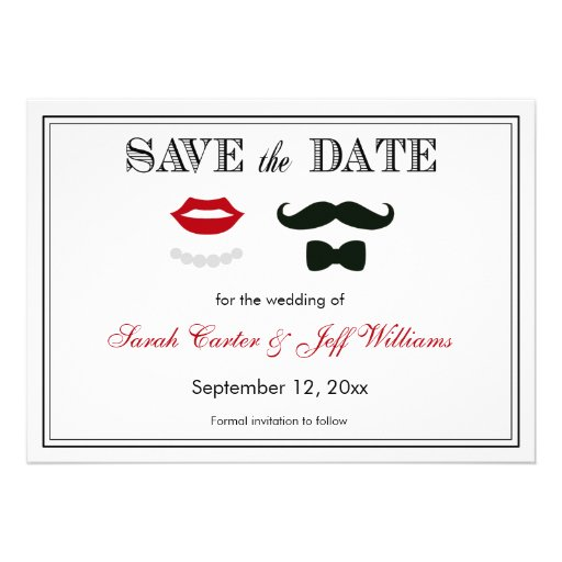 Vintage Mustache and Lips Save the Date Cards