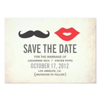 Vintage Mustache & Lips Save The Date Card