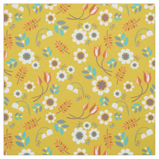 Vintage Mustard Yellow Floral Flowers Pattern