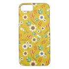 Vintage Mustard Yellow Floral Flowers Pattern iPhone 8/7 Case