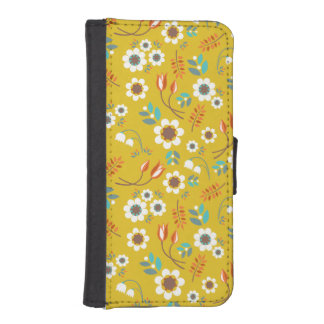 Vintage Mustard Yellow Floral Flowers Pattern iPhone SE/5/5s Wallet Case