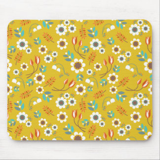 Vintage Mustard Yellow Floral Flowers Pattern Mouse Pad