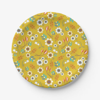 Vintage Mustard Yellow Floral Flowers Pattern 7 Inch Paper Plate