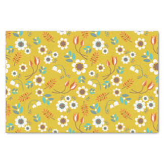 Vintage Mustard Yellow Floral Flowers Pattern Tissue Paper