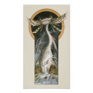 Vintage Mythology, a Winged Dragon in the Ocean Poster