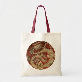 Vintage Mythology, Antique Golden Asian Dragon Tote Bag