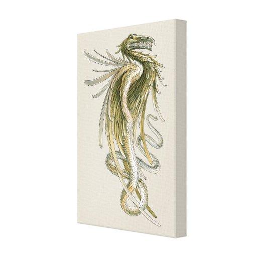 Vintage Mythology, Winged Dragon Snake Tail Stretched Canvas Prints
