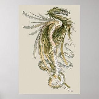 Vintage Mythology Winged Dragon Snake Tail Posters