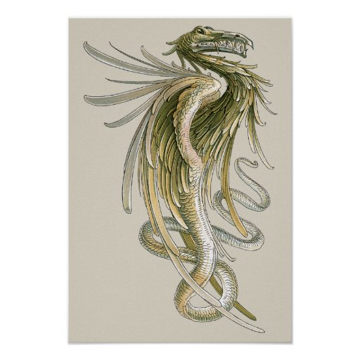 Vintage Mythology, Winged Dragon Snake Tail Posters