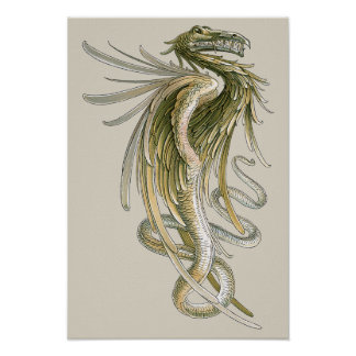 Vintage Mythology Winged Dragon Snake Tail Posters