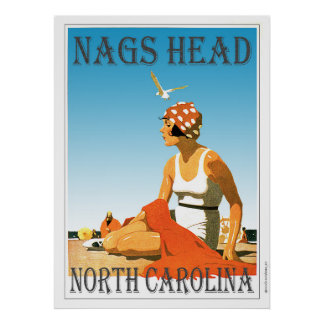 Vintage Nags Head North Carolina Beach Poster