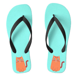 Vintage Naive Orange Cartoon Tabby Cat Flip Flops