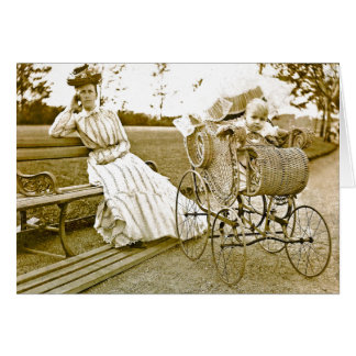 Vintage Nanny And Baby Notecard
