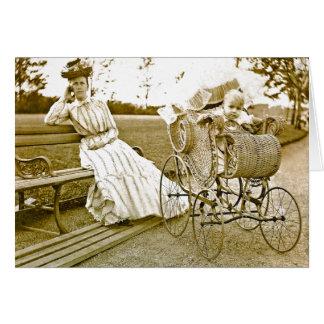 Vintage Nanny And Baby Notecard Greeting Card