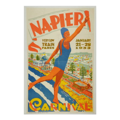 Vintage Napier Carnival New Zealand Travel Poster