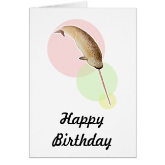 Vintage Narwhal In Colorful Circles Card