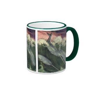 Vintage Narwhal Whale, Marine Ocean Animal Ringer Mug