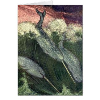 Vintage Narwhals Whales, Marine Life Ocean Animals Card