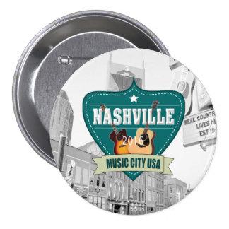 Vintage Nashville Large, 3 Inch Round Button