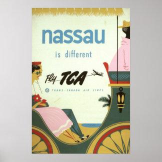 Vintage Nassau Bahamas Travel Poster