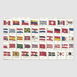 Vintage National Flags Chart - created 1863 Rectangular Sticker