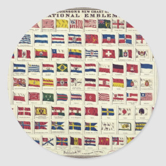 Vintage National Flags Chart - created 1863 Round Stickers