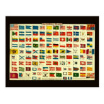 Vintage National Flags of The World Post Card